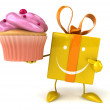 Gift with cupcake — Stock Photo #54787457