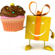 Gift with cupcake — Stock Photo #54787461