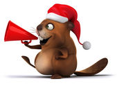 Beaver with christmas hat — Stock Photo