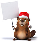 Beaver with christmas hat — Foto Stock