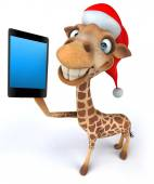 Giraffe with phone — Stock Photo