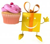 Gift with cupcake — Stock Photo