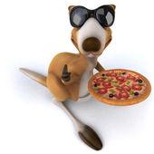 Kangaroo with pizza — Stock Photo