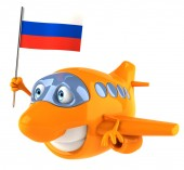 Plane with flag of russia — Foto de Stock