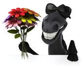 Koń z kwiatami — Zdjęcie stockowe