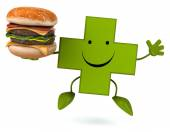 Pharmacy cross    with hamburger — Stock Photo