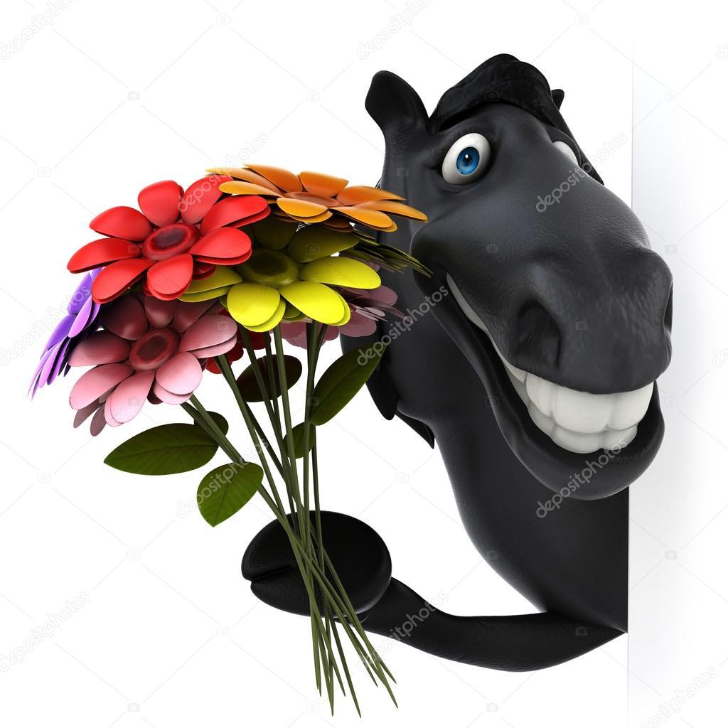 Мягкая музыкальная игрушка Лошадь в шляпе с цветком в зубах 19