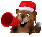 Beaver with megaphone — Stock Photo