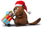 Beaver with gifts — Stock Photo