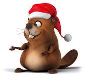 Christmas Beaver — Stock Photo