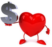 Heart with dollar sign — Stock Photo