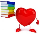 Heart with books — Stock Photo