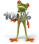 Frog with 100 percents — Stock Photo