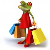 Frog with shopping bags — Stock Photo