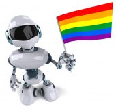 Robot with rainbow flag — Stockfoto