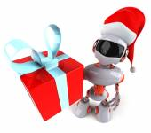 Robot with gift — Stock Photo