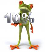 Frog with 10 percents — Stock Photo
