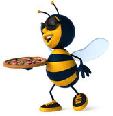 Bee with pizza — Stock Photo