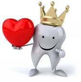 Tooth in crown with heart — Stock Photo