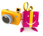 Gift with camera — Stock Photo