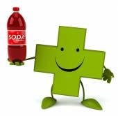 Pharmacy cross with soda — Stock Photo