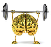 Gold brain barbell — Stock Photo