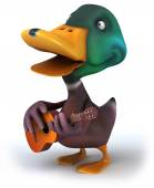 Duck with guitar — Stock Photo