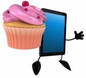Tablet with cupcake — Foto de Stock