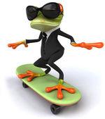 Frog with skateboard — Stock Photo