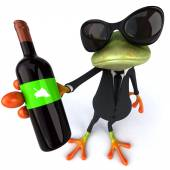 Frog with bottle of wine — 图库照片