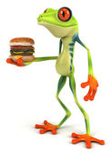 Frog with hamburger — Stock Photo