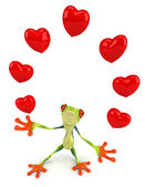 Frog with hearts — Stock Photo