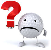 Golfový míček s otázkou — Stock fotografie