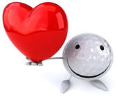 Golf ball with heart — Stock Photo