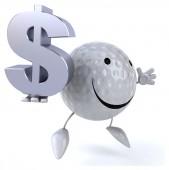高尔夫球场球与美元 — 图库照片