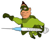 Superhero with syringe — Stock Photo