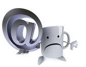 Mug with email sign — Stockfoto