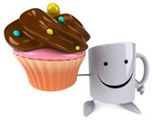 Mug with cupcake — Stok fotoğraf