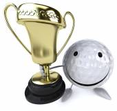 Golf ball  with golden cup — Stock Photo