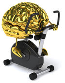 Brain on bicycle trainer — Stock Photo