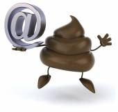 Poop with email sign — Stock Photo