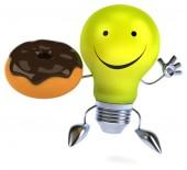 Light bulb with donut — Stockfoto