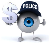 Police eye with dollar sign — Stock Photo