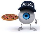 Police eye with pizza — Stock Photo
