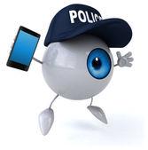 Police eye with phone — Stock Photo