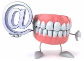 Teeth with email sign — Stock Photo