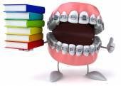 Teeth with books — Stock Photo