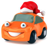 Fun car in Santa hat — Stock Photo