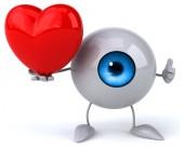 Fun eye with red heart — Stock Photo
