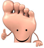Fun happy foot with thumbs up gesture — Stock Photo